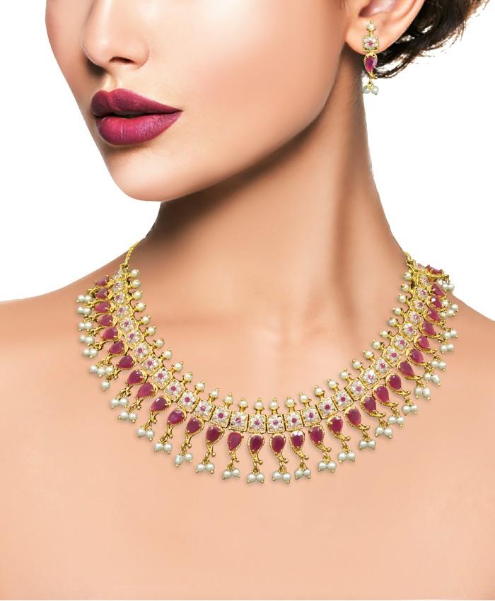 Elegant Aishaanya Gold Plated American Diamond Necklace