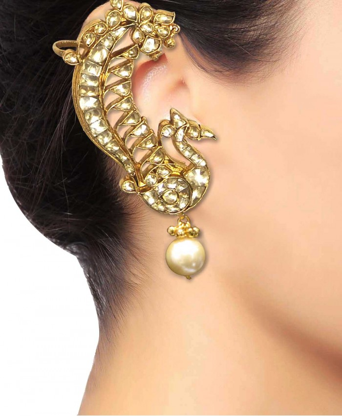 Peacock Pachi Kundan Gold Plated Earcuffs