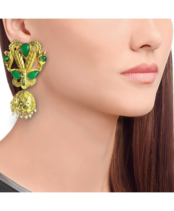 Gold Plated Peacock Jhumki