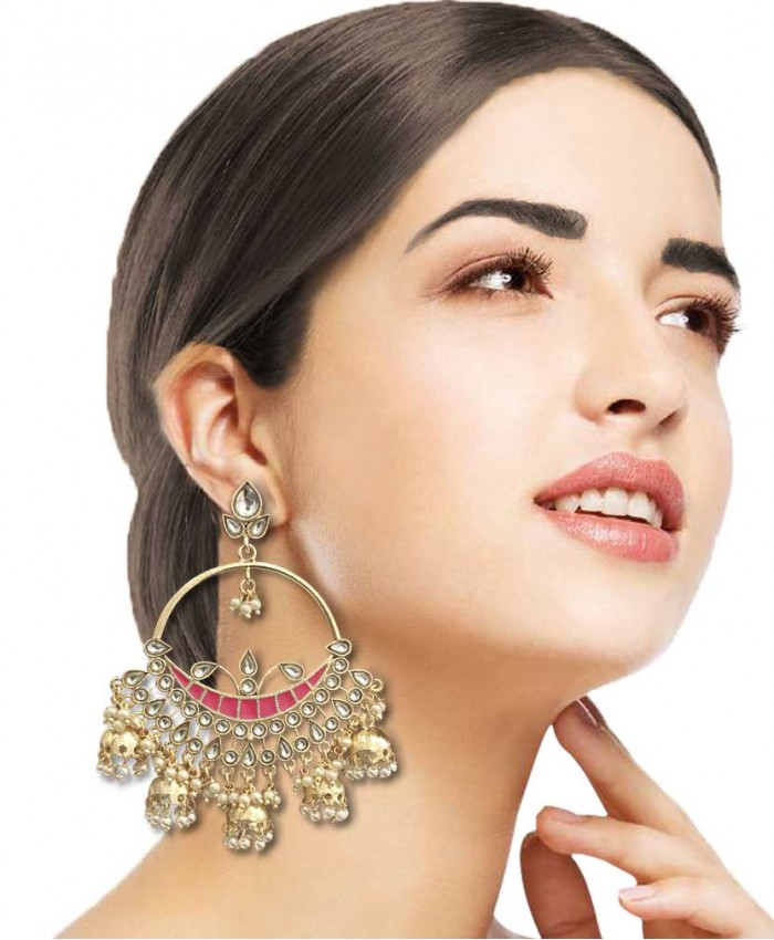 Charita Gold Plated Kundan and Magenta Meena Jhumki