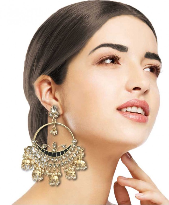 Charita Gold Plated Kundan and Black Meena Jhumki