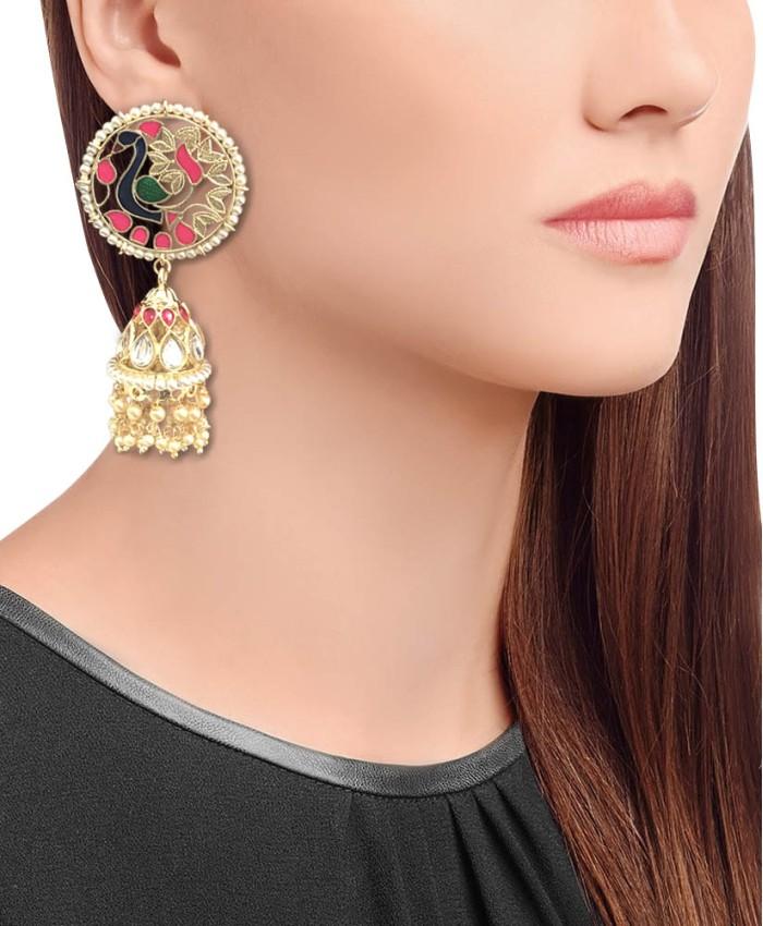 Gorgeous Neelkanth Gold Plated Kundan and Meena Earrings