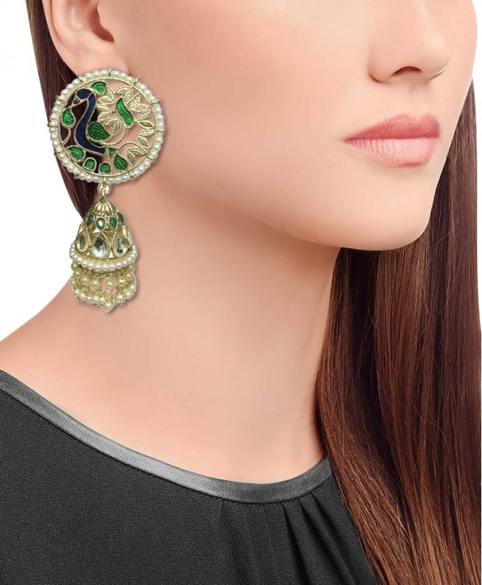 Charming Peacock Gold Plated Kundan and Meena Earrings