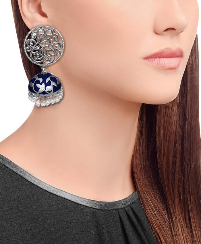 Silver Plated Blue Meena Jhumki