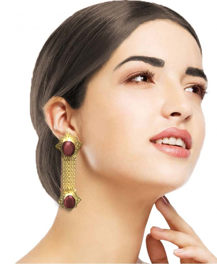 Anika Gold Plated Semi-Precious Danglers
