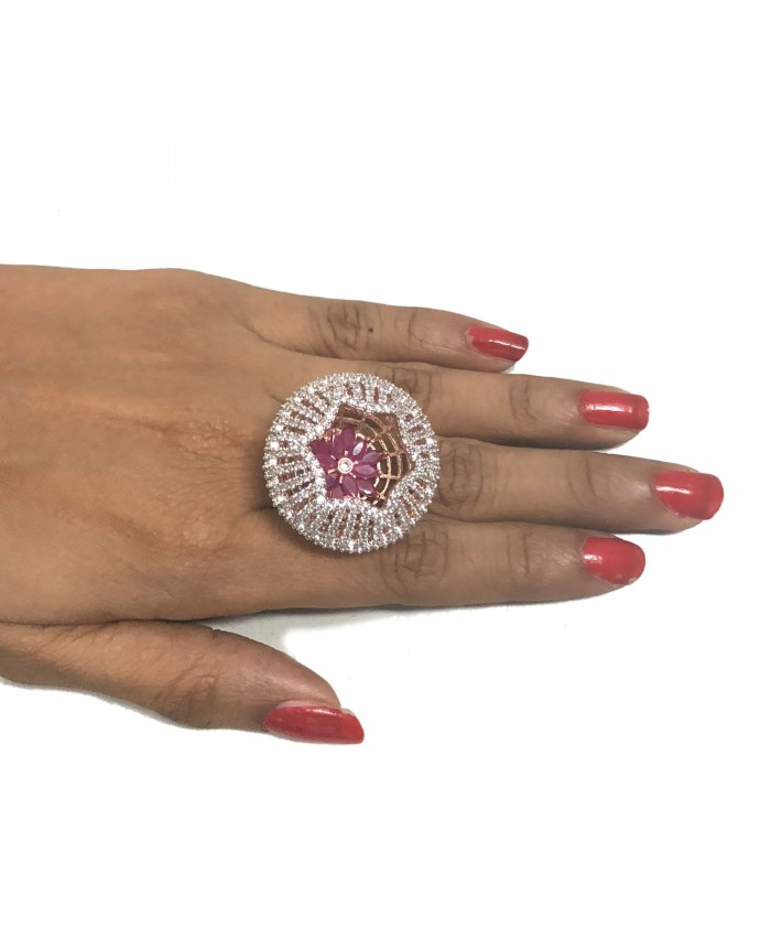Aalia Rose Gold Plated American Diamond Adjustable Ruby Ring