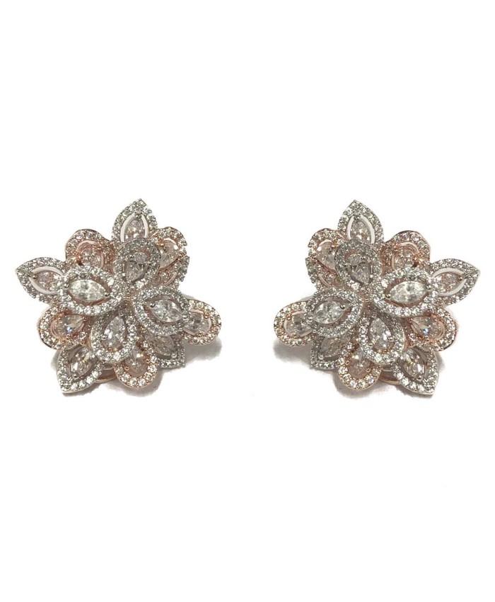 Anvi Rose Gold Plated American Diamond Studs