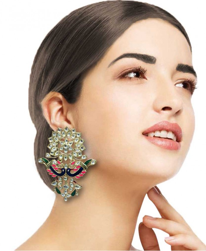 Shikhandi Kundan and Pink Meena Earrings