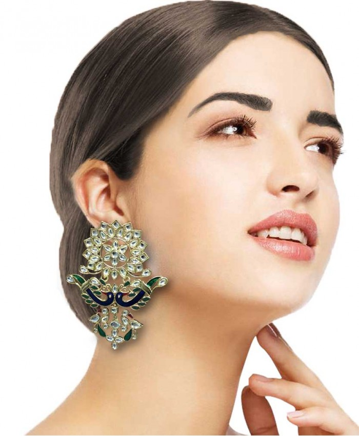 Shikhandi Kundan and Green Meena Earrings