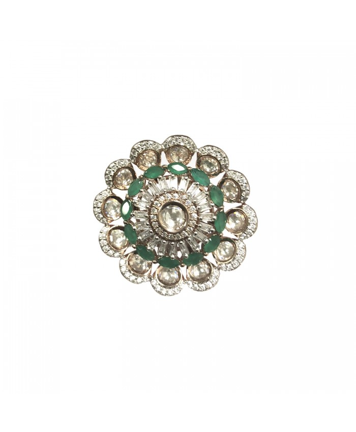 Antique Vanya Rose Gold Plated Kundan and Emerald Ring