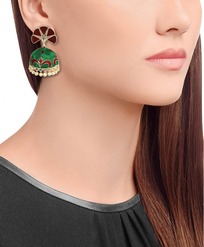 Meera Red and Green Meena Gold Plated Jhumki