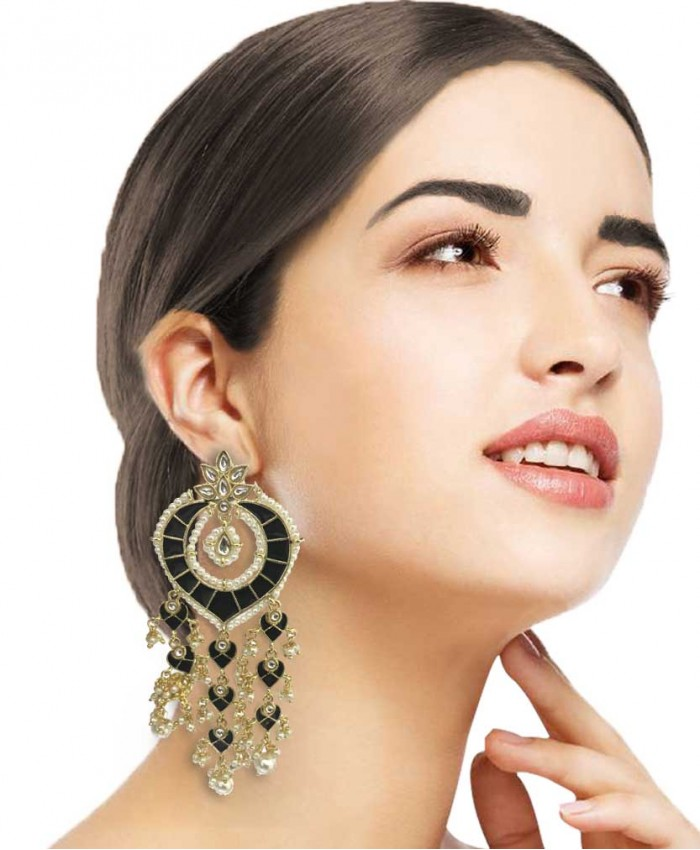 Amaira Kundan and Meena Long Earrings