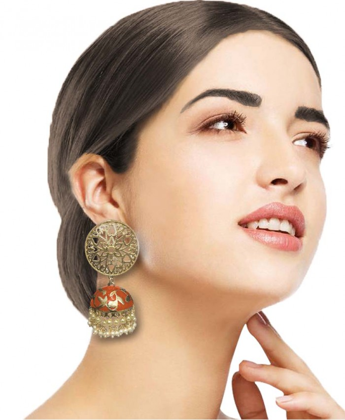 Sahana Orange Meena Gold Earrings
