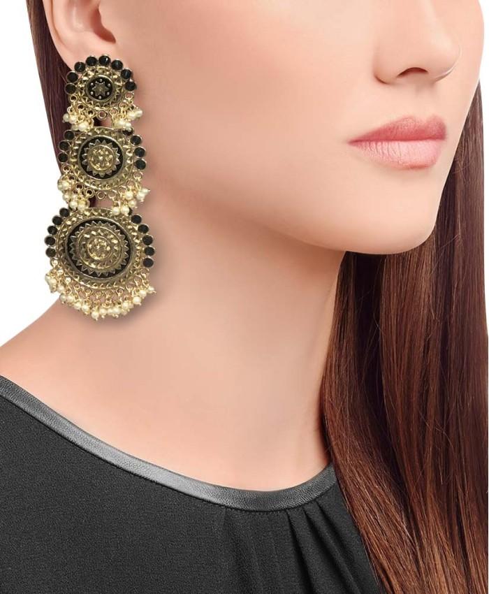 Trisha Gold Plated Black Stone Long Earrings