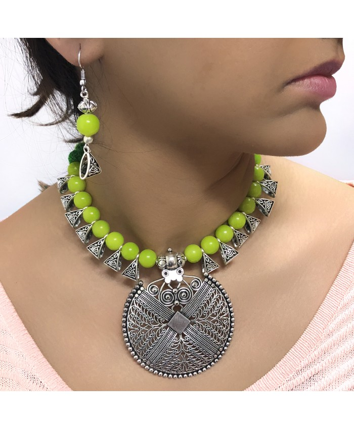 Anushka Green Bead Oxidised Necklace and Earring Set