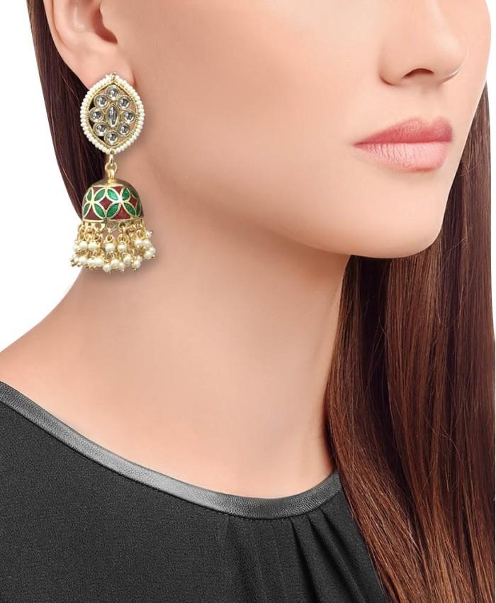 Mia Gold Plated Red and Green Meena Kundan Earrings