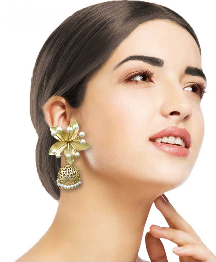 Manya Gold Plated Flower and Pearl Earrings