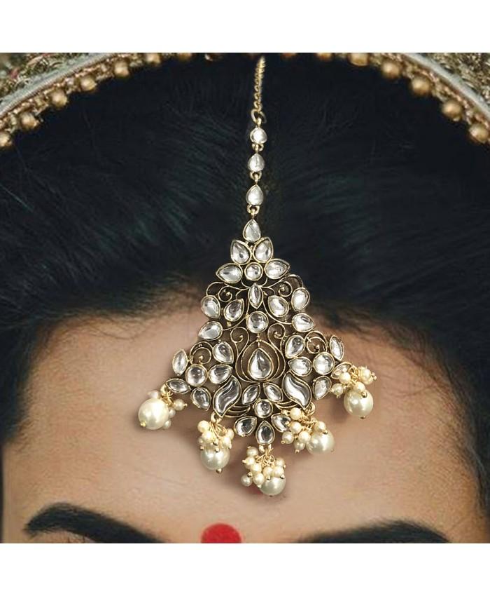 Gauri Gold Plated Kundan Maang Tika