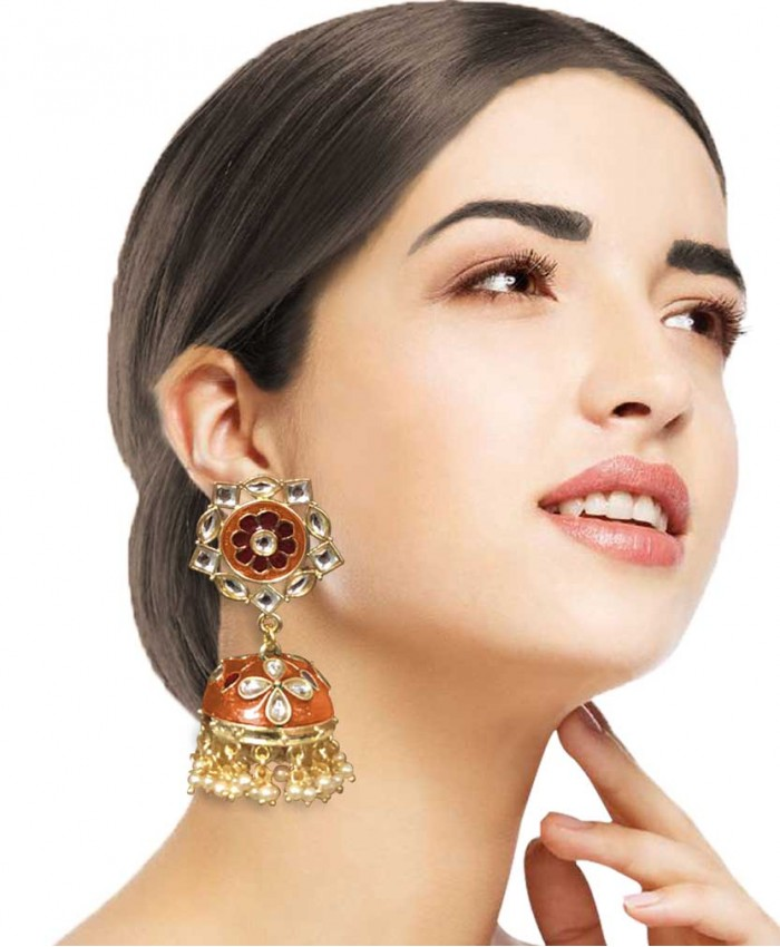 Megha Orange and Red kundan Jhumkis
