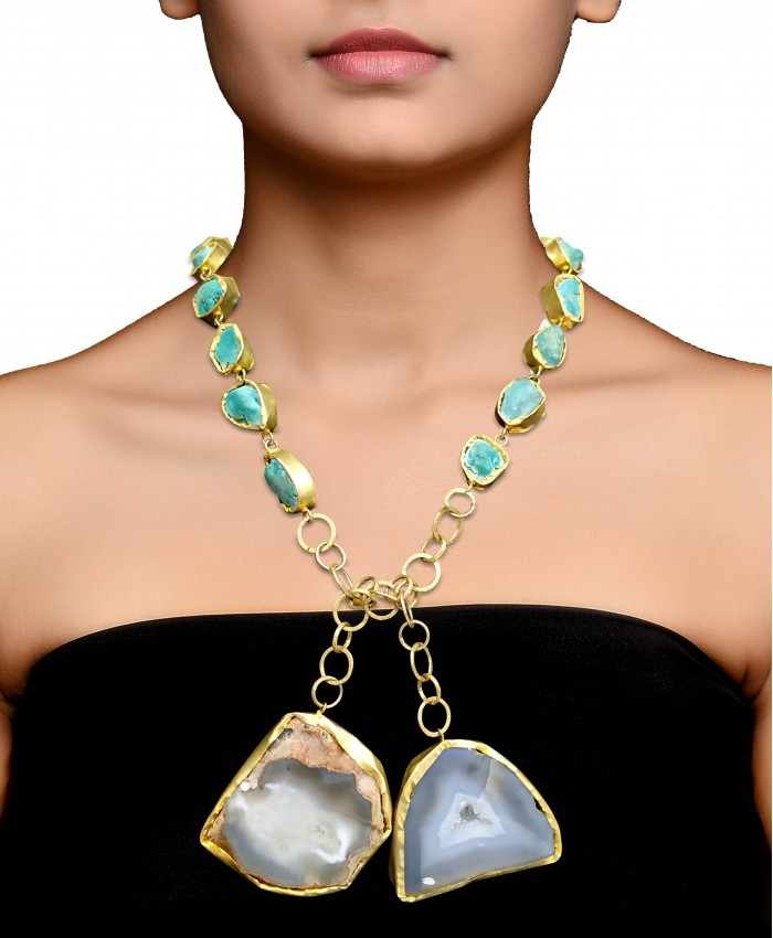 Aanya Turqouise and Druzy Necklace