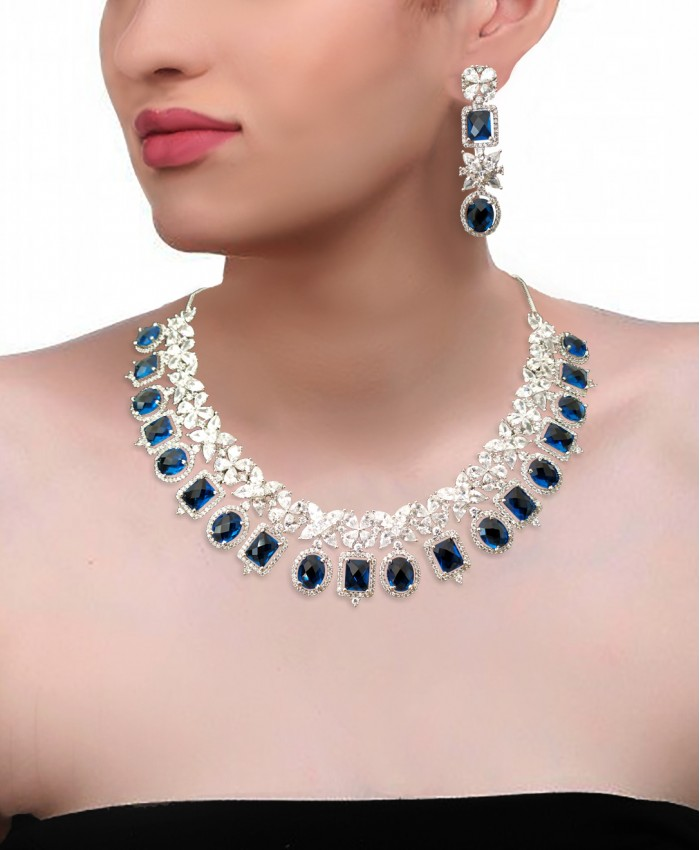 Gold Plated American Diamond and Sapphire Necklace Set