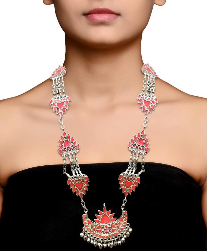Oxidised Pink Meenakari Necklace
