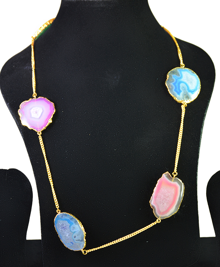 Aavya Multi colour Druzy Necklace