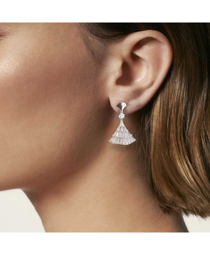 925 Sterling Silver Beautiful White Stone Earring