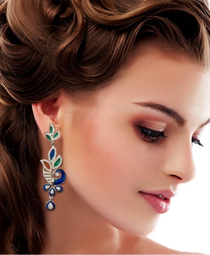 925 Sterling Silver Peacock Earrings with Meena