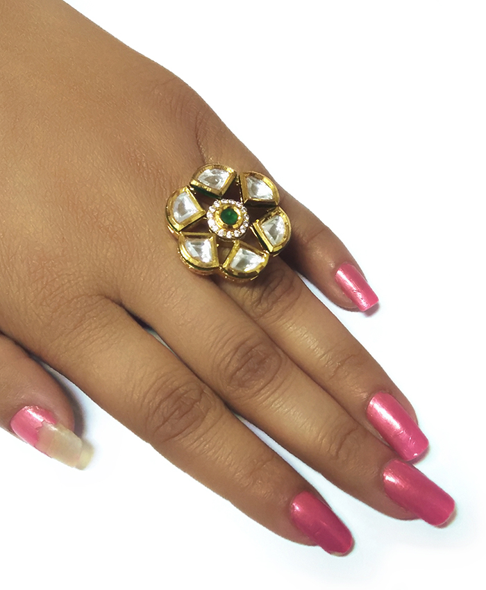 Pretty Gold Plated Tripti Kundan Ring