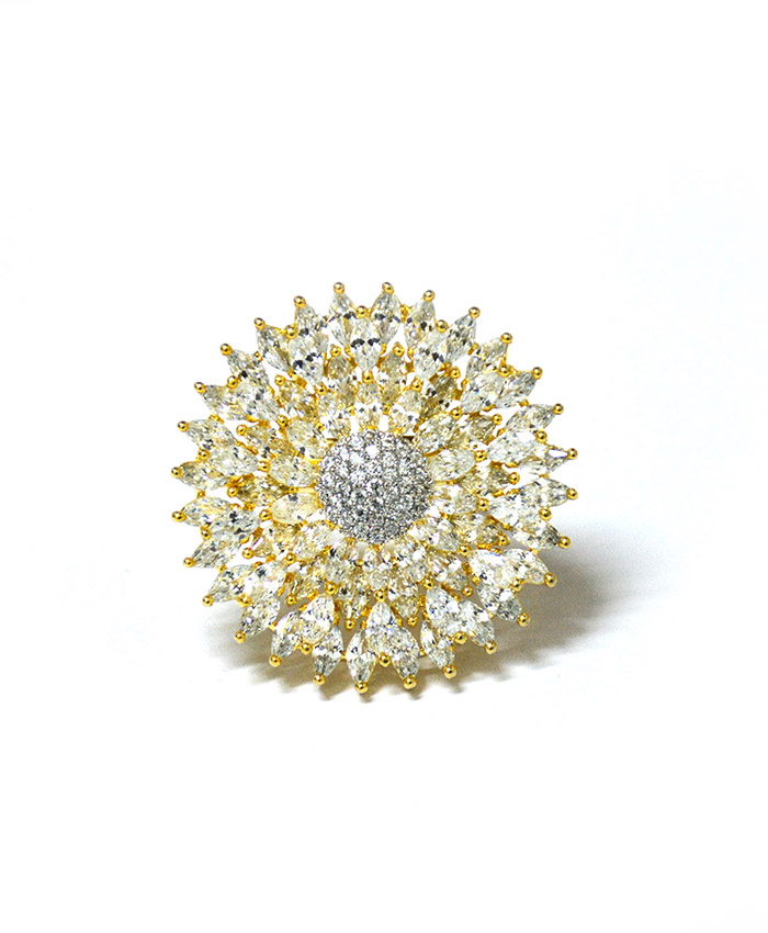 Attractive  Gold plated and American Diamond Samiksha Ring