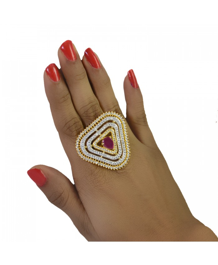 Vanya Gold Plated Tricon Ring