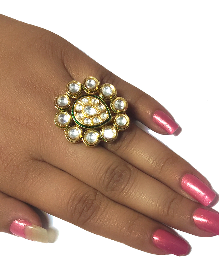 Gold Plated Eshani Kundan Ring