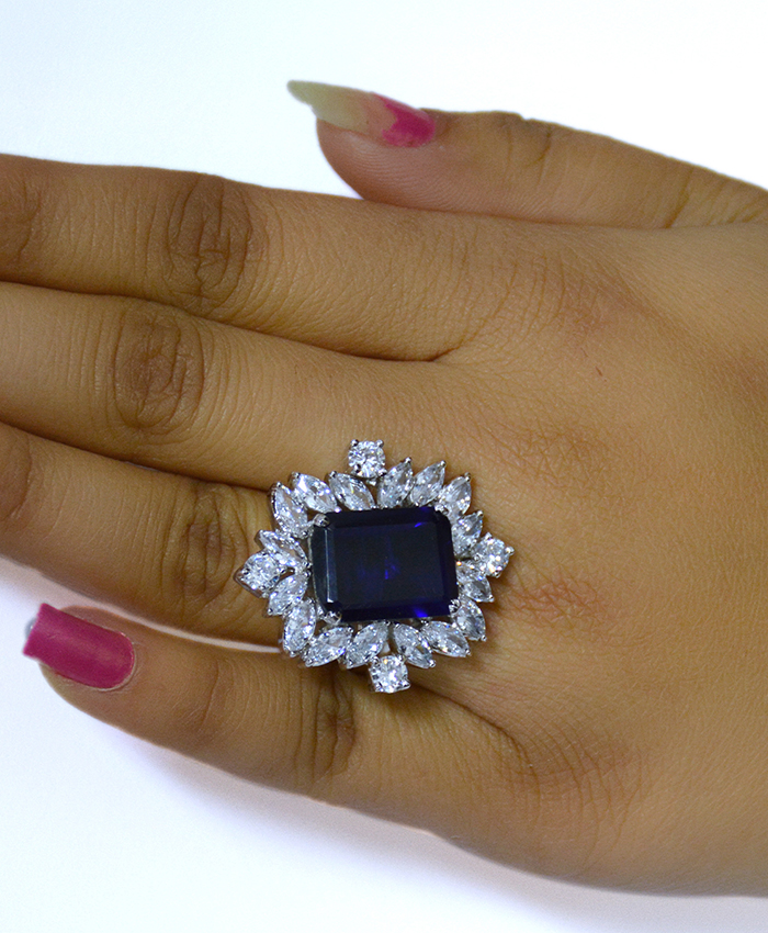 Exclusive Blue Cocktail Ring with American Diamond