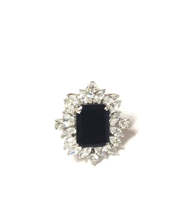 Designer American Diamond and Black Stone Ring