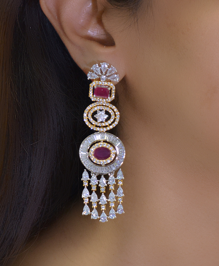 Anuttra Gold Plated American Diamond and Ruby Earrings