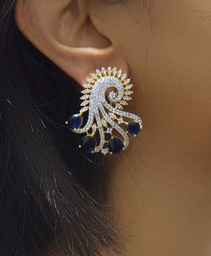 Charming  Anupama Earring With American Diamond and Blue Stone