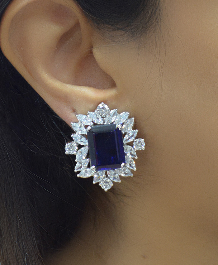 Blue Akshita American Diamond Earring