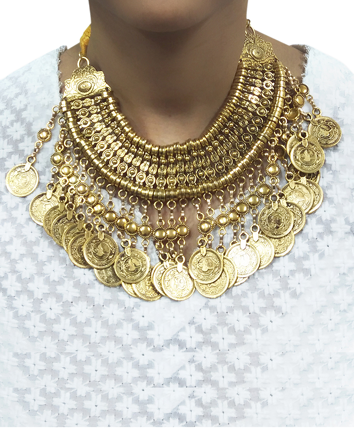 Fancy Golden Coin Necklace