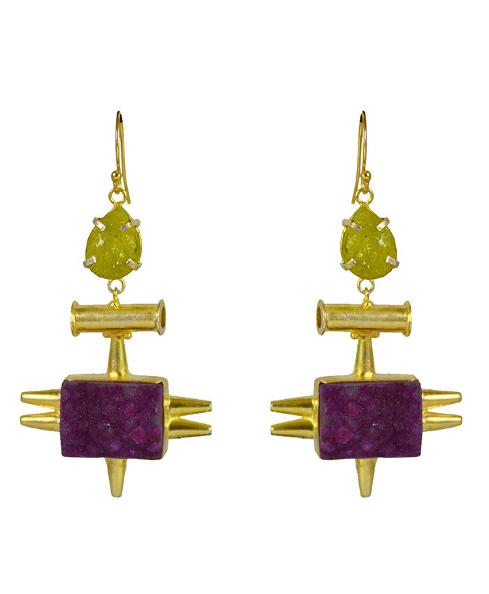 Rayya Yellow With Violet Stone Earrings