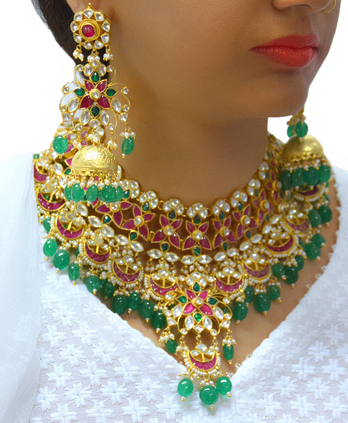 Stunning Lipika Kundan Necklace Set With Big Green Stones