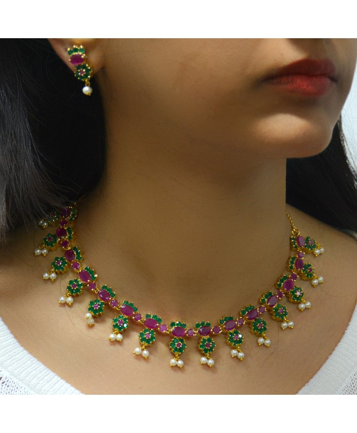 Charming  Emerald and Ruby Siona Necklace Set