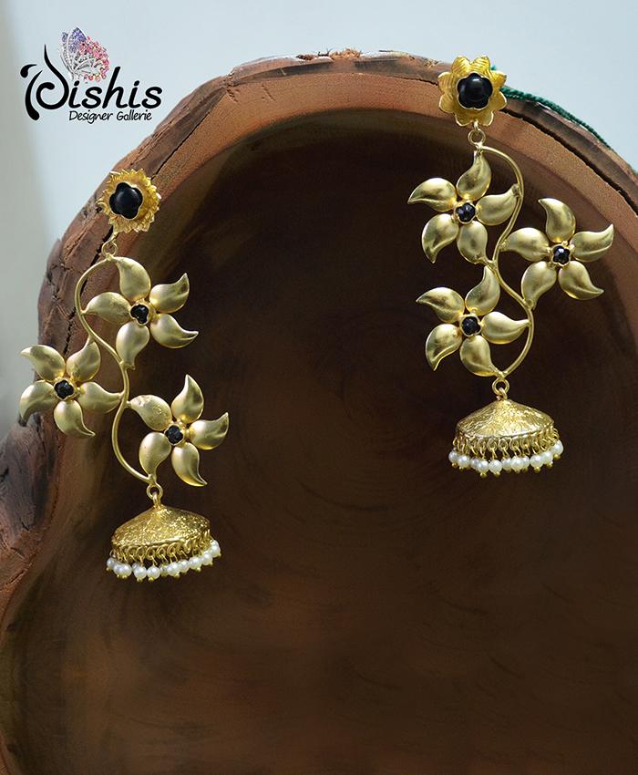 Flower and Black Stones Jhumki