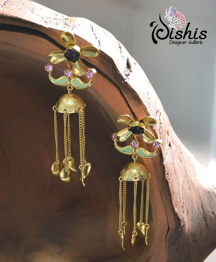 Stylish Yosha Black And Pink Stones Earring