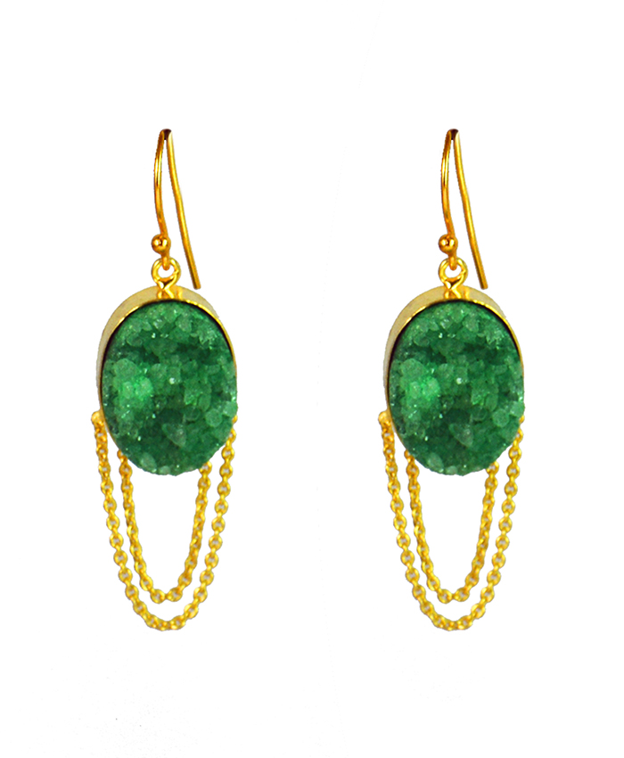 Green Druzy Adah Earrings with Chains