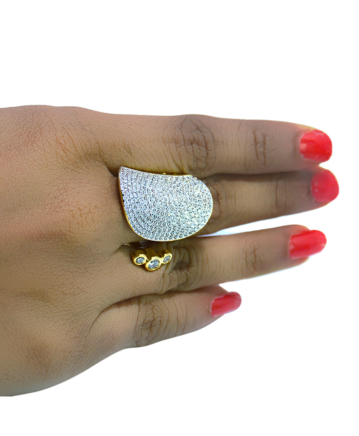 Attractive Gold Plated and American Diamond Ridhi Ring