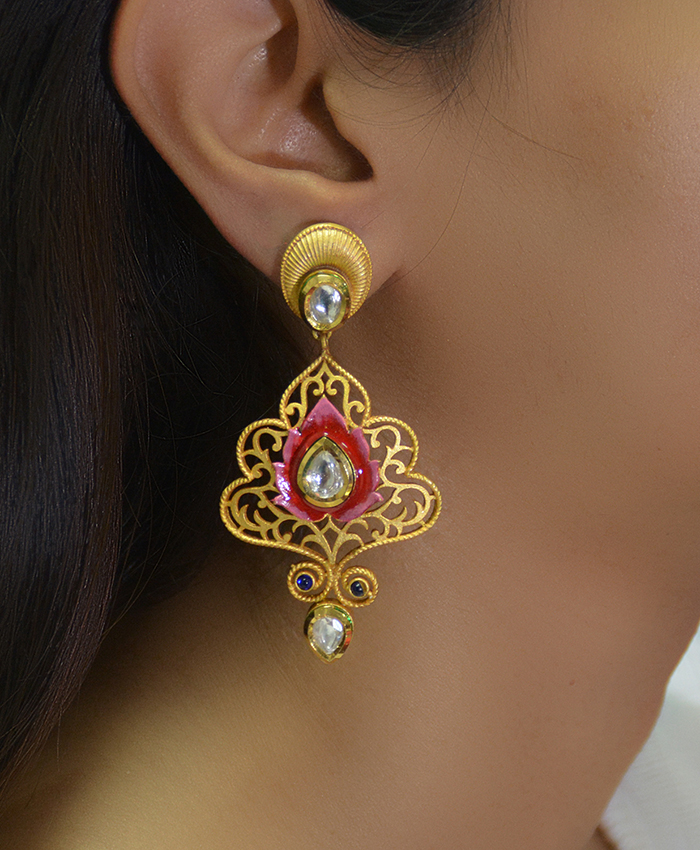 Dhara Gold Plated and Meena Earrings