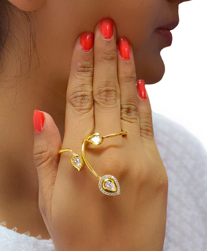 Fancy Dual Kundan Ring