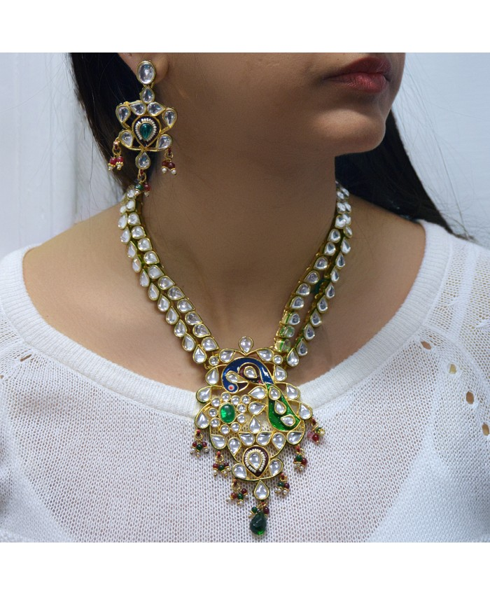 Pranani Peacock and Meenakari Necklace Set