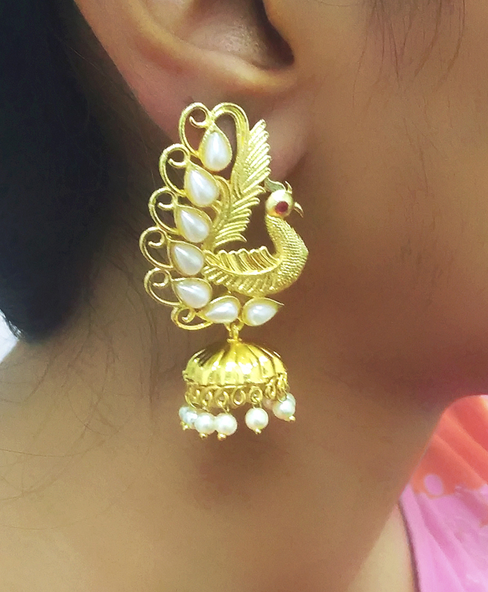 Manvi Gold Plated Peacock Earring
